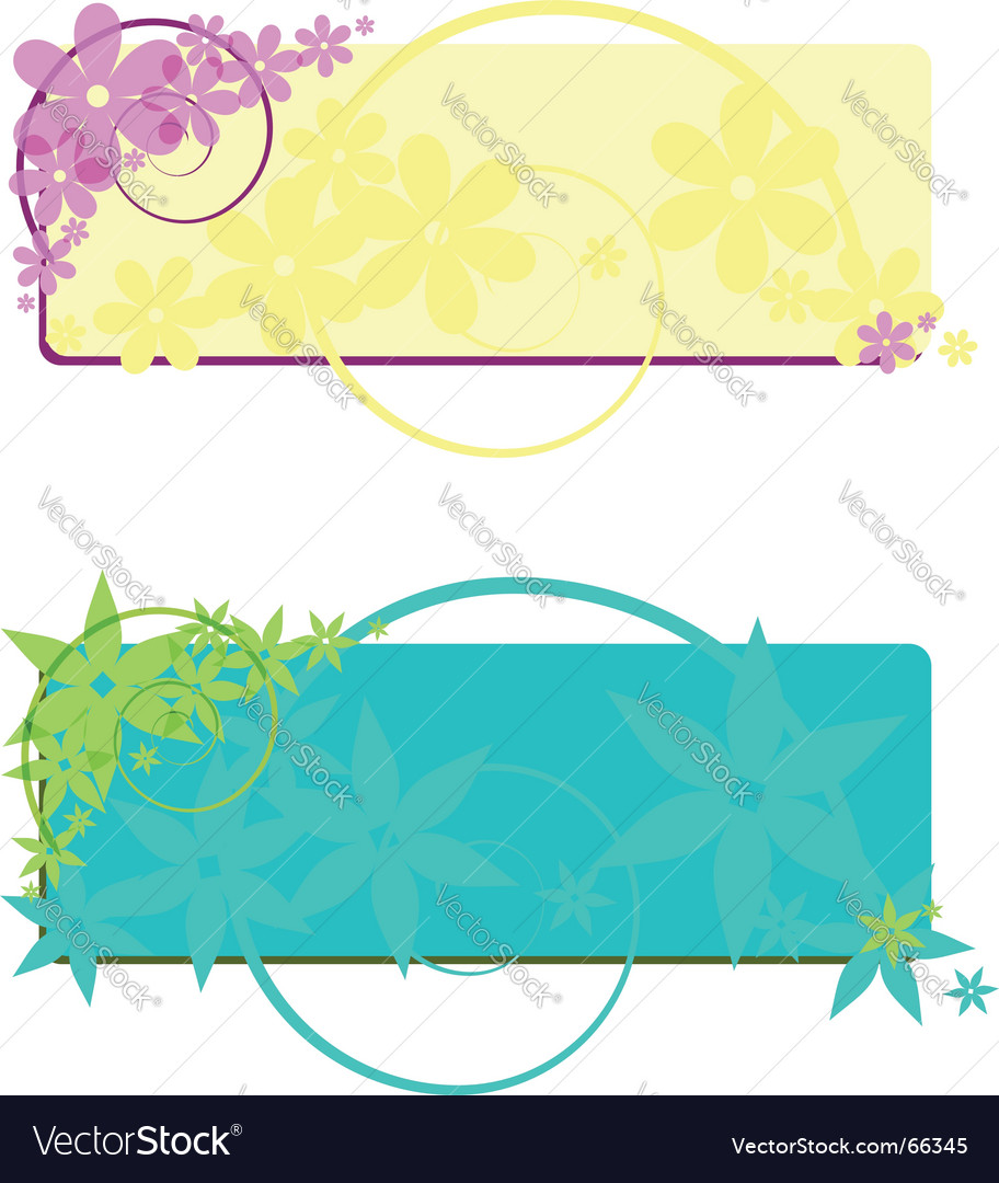 Two flower banners vector | Price: 1 Credit (USD $1)