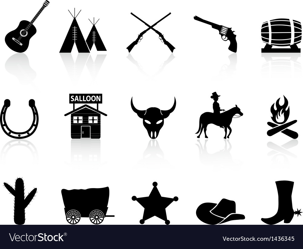 Wild west cowboys icons set vector | Price: 1 Credit (USD $1)
