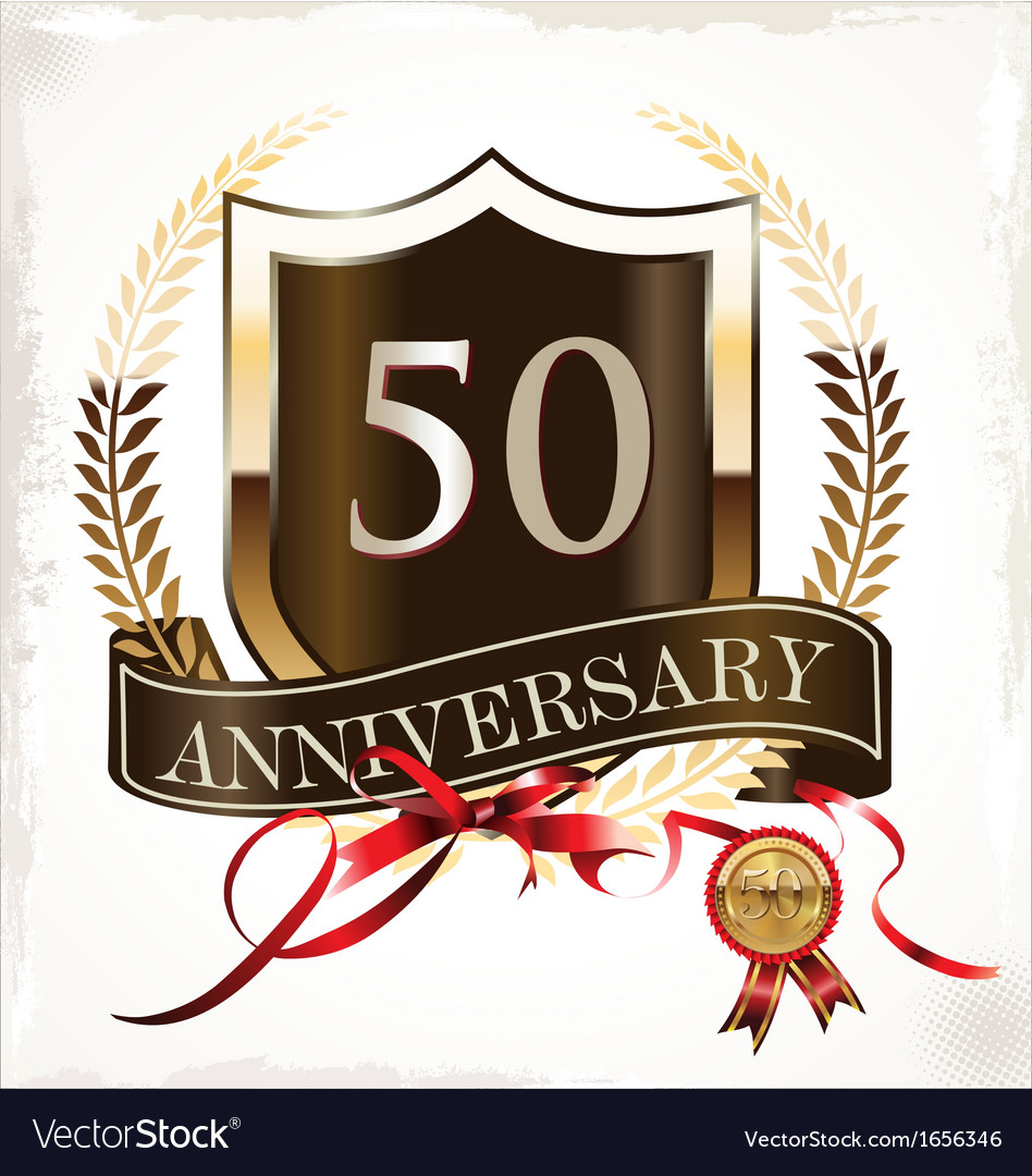 50 years anniversary golden label vector | Price: 1 Credit (USD $1)