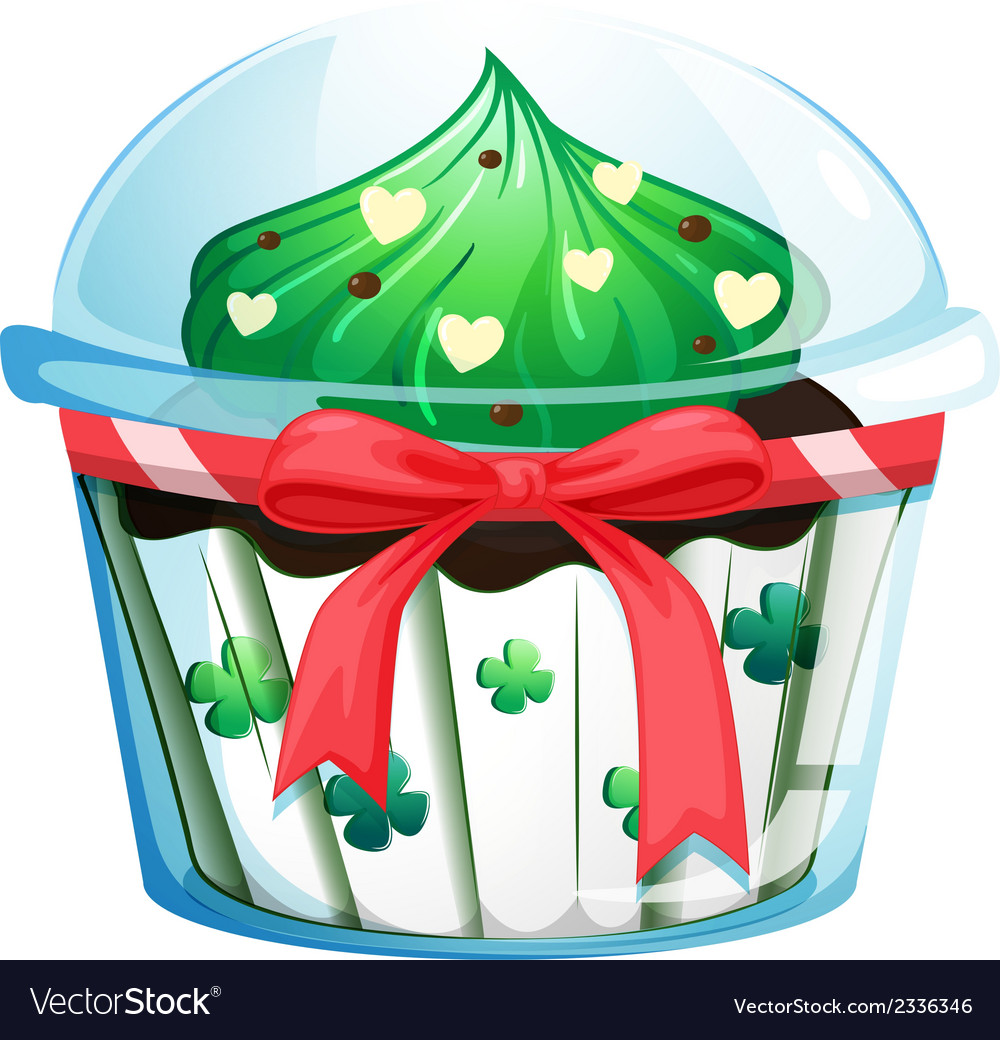 A disposable cupcake container with a red ribbon vector | Price: 1 Credit (USD $1)