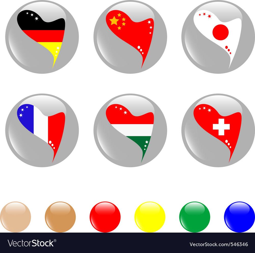 Al heart flags icon shiny button  vector vector   Price: 1 Credit (USD $1)