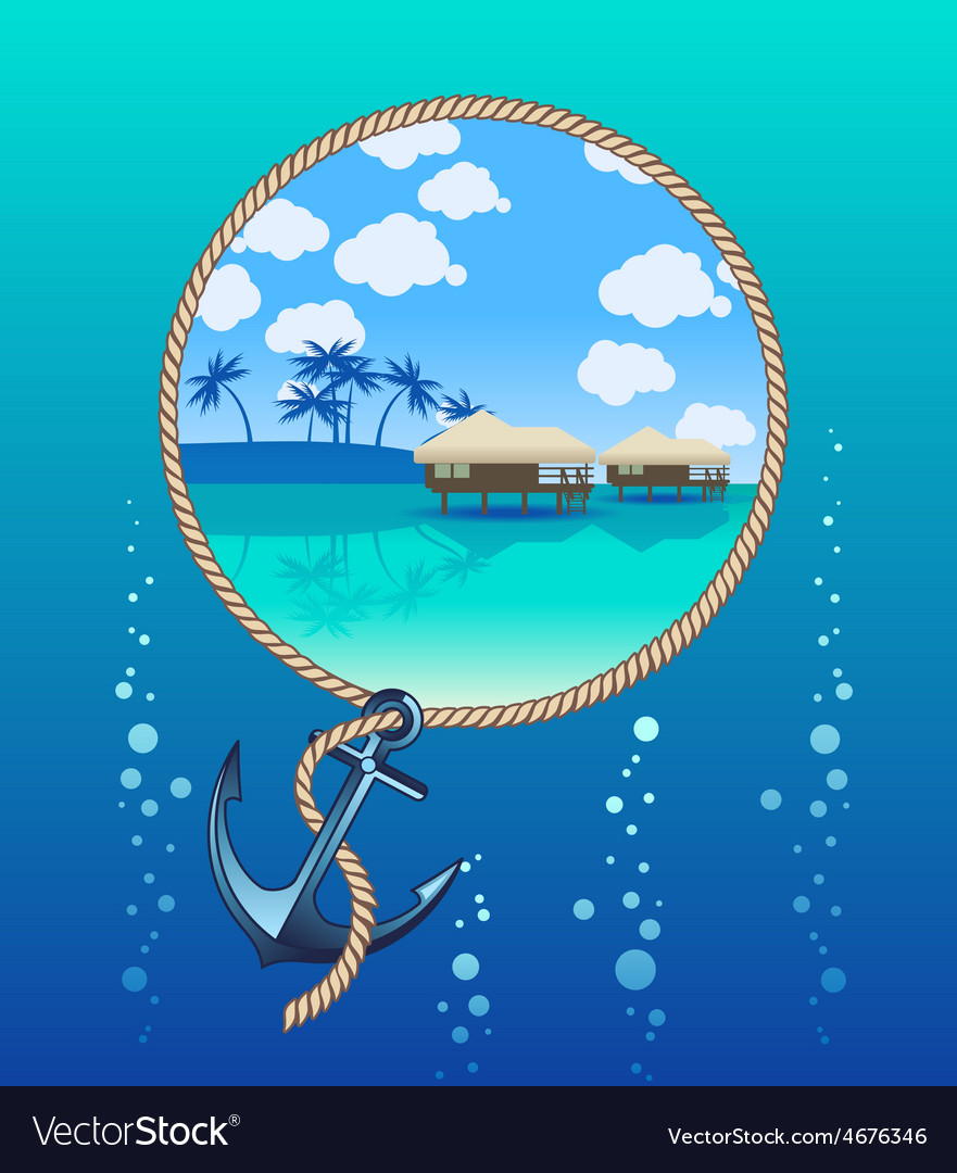 Anchor and tropical island vector | Price: 3 Credit (USD $3)
