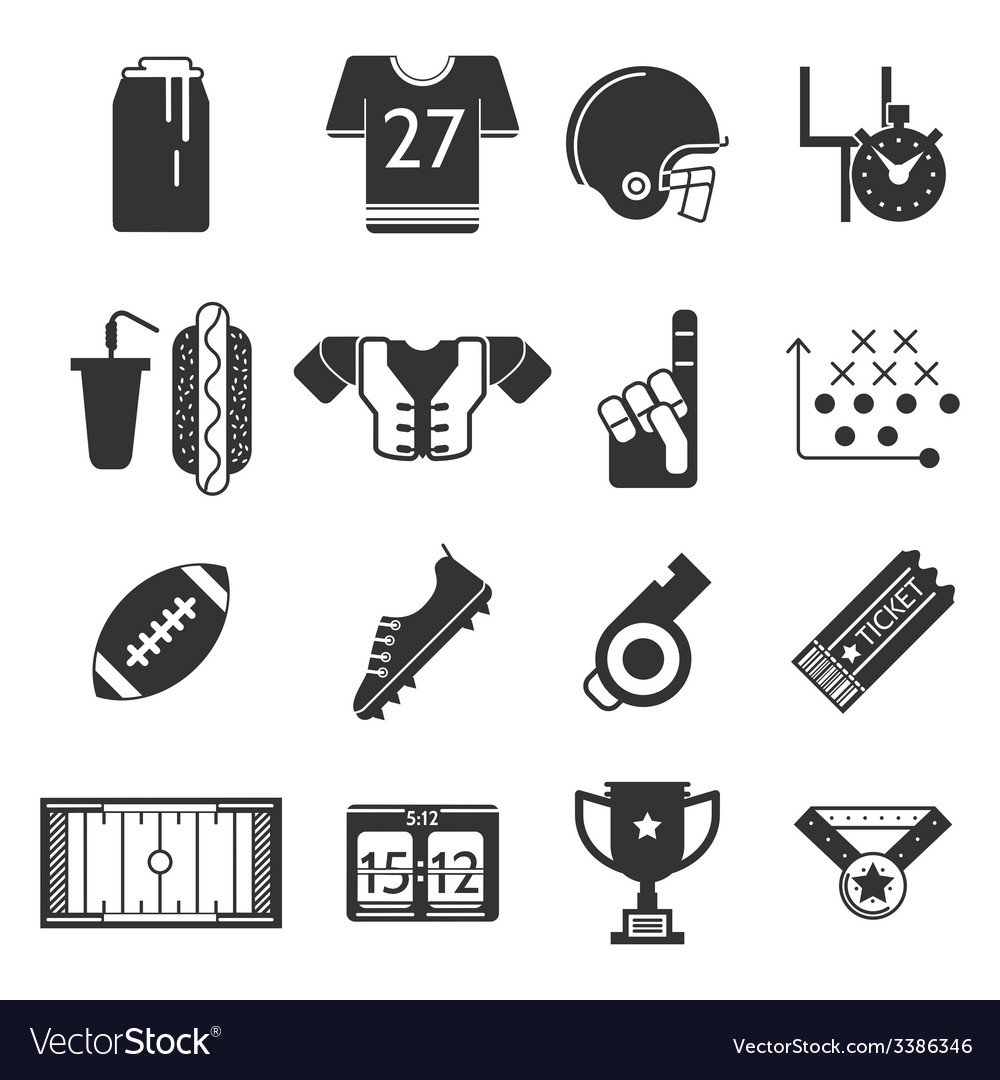Black icons collection for american football vector | Price: 1 Credit (USD $1)