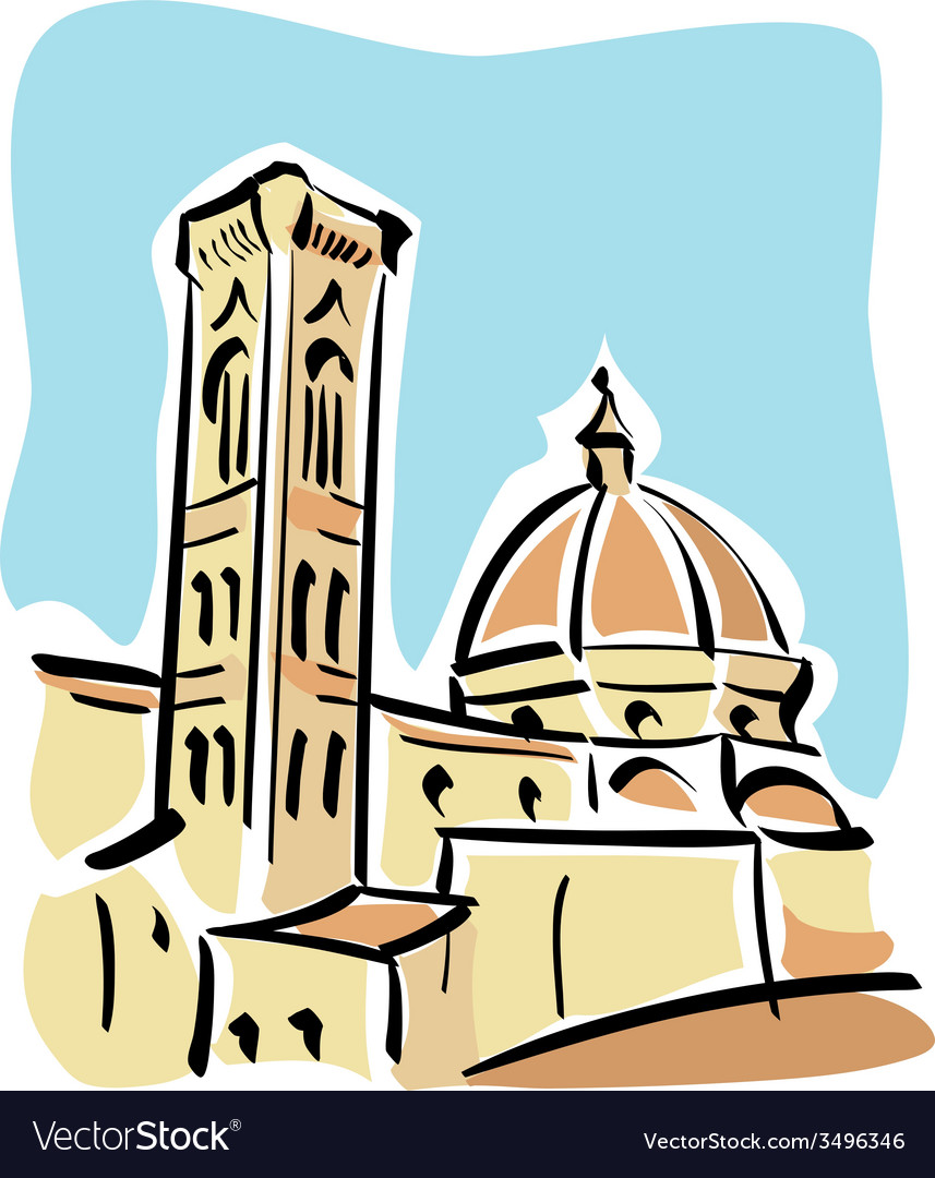 Florence the duomo and giottos bell tower vector | Price: 1 Credit (USD $1)