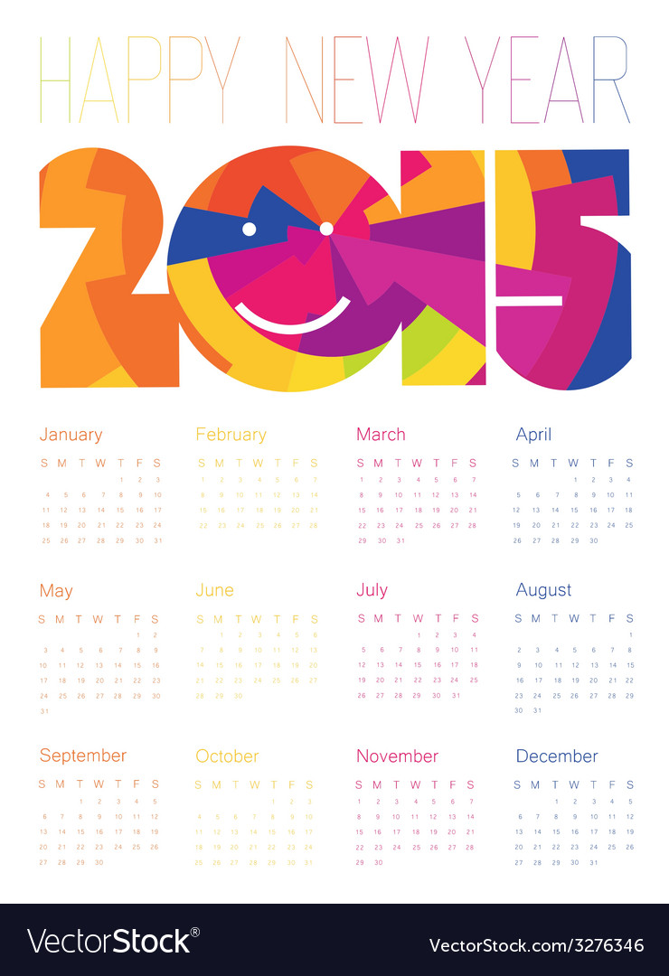 Happy new year 2015 colorful design calendar vector | Price: 1 Credit (USD $1)