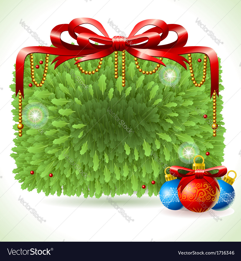 Holly leaves rectangle placeholder isolated on vector | Price: 1 Credit (USD $1)