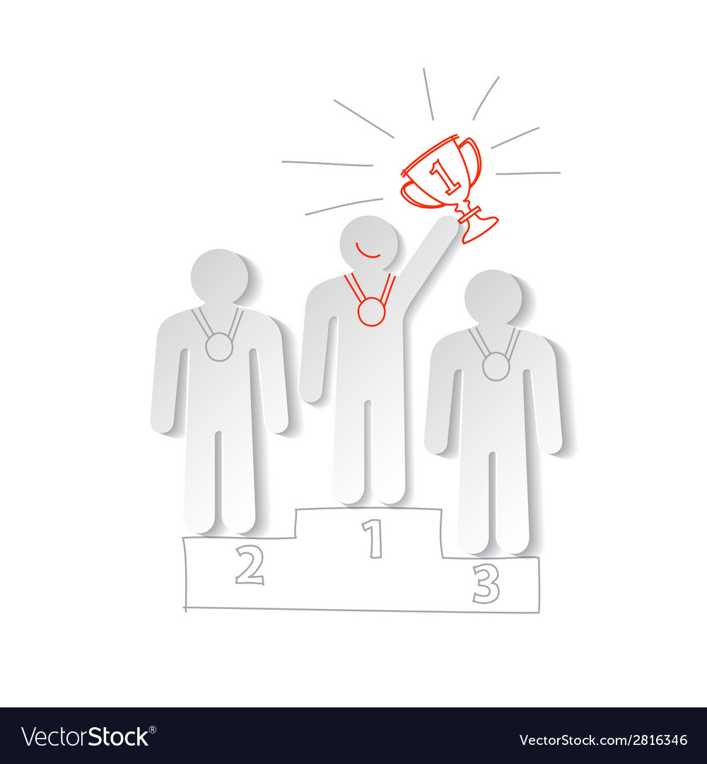 Paper men on the sports pedestal vector | Price: 1 Credit (USD $1)
