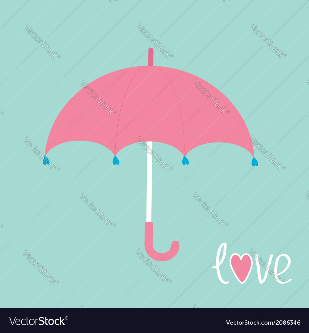 Pink umbrella with hearts love card vector | Price: 1 Credit (USD $1)