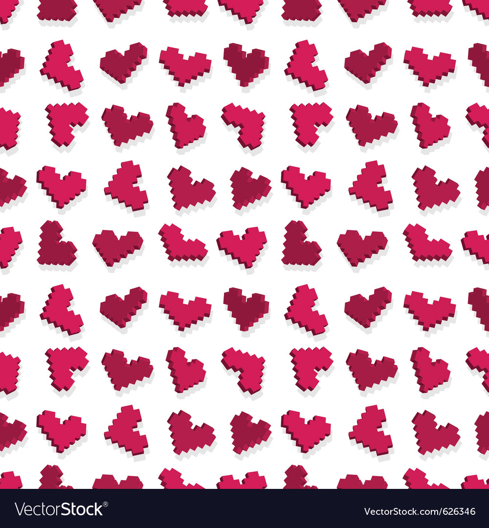 Pixel heart seamless vector | Price: 1 Credit (USD $1)