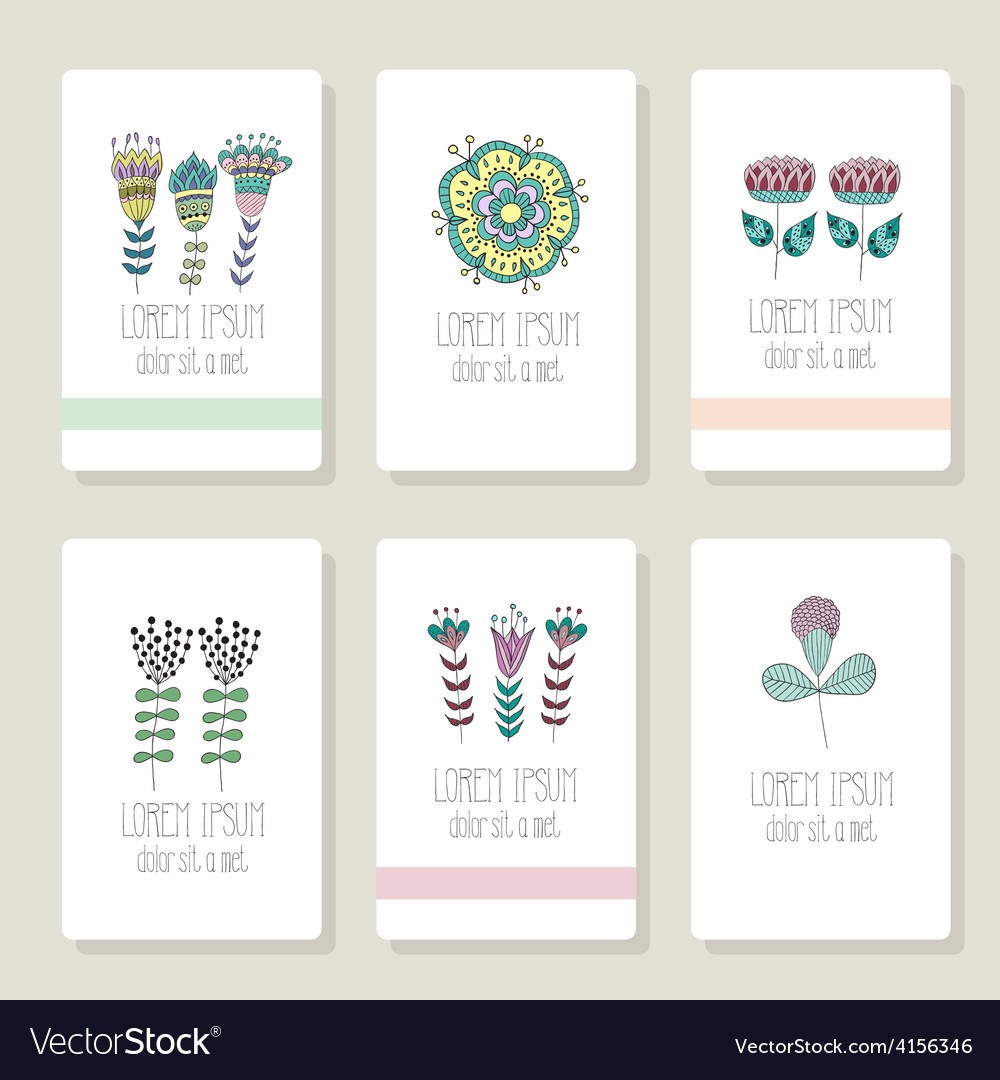 Set of cards invitation with hand drawn floral vector | Price: 1 Credit (USD $1)