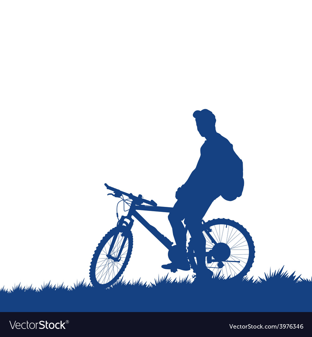 Silhouette of a cyclist on the grass vector | Price: 1 Credit (USD $1)
