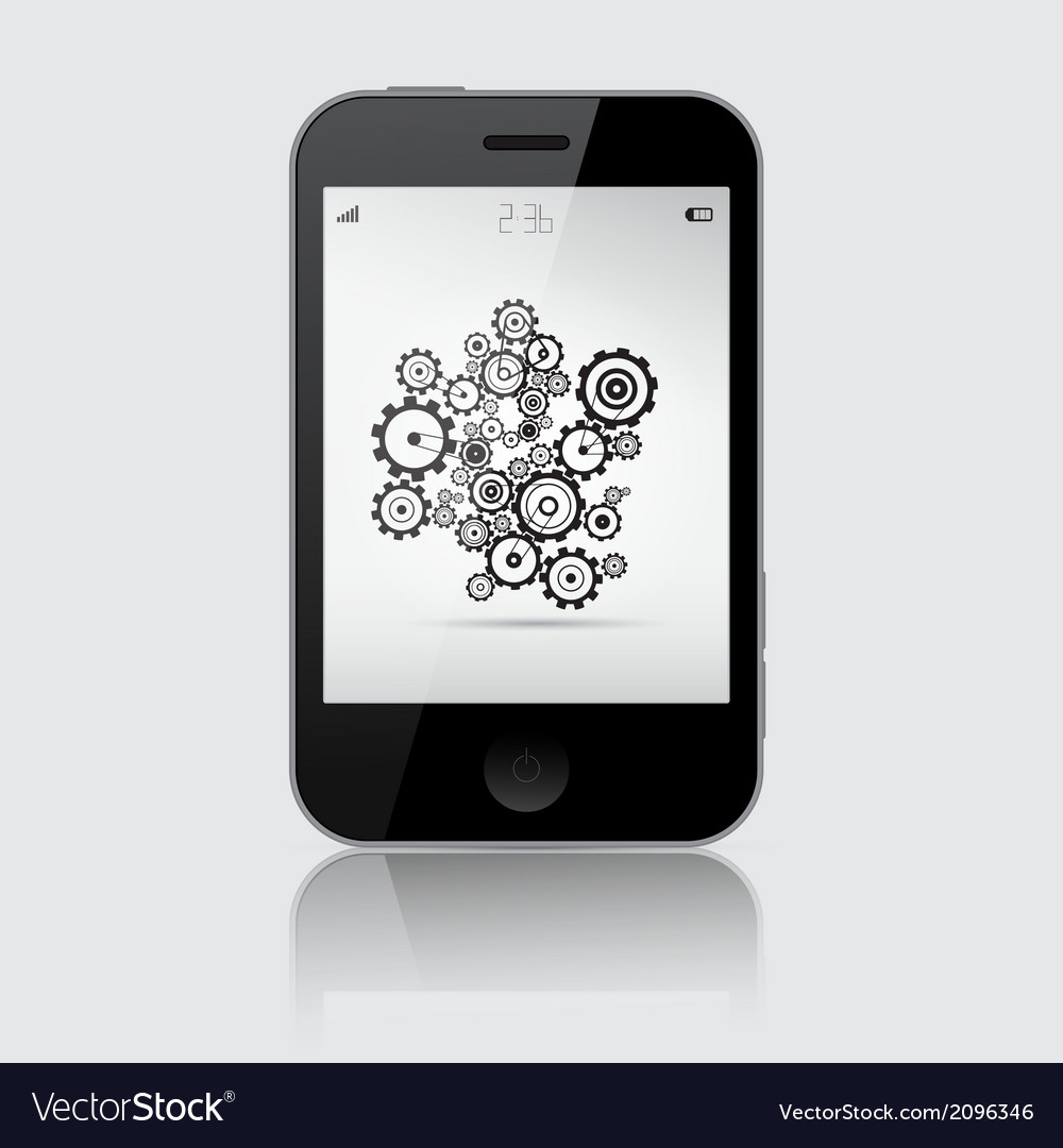 Smartphone with cogs - wheels on grey backgr vector | Price: 1 Credit (USD $1)