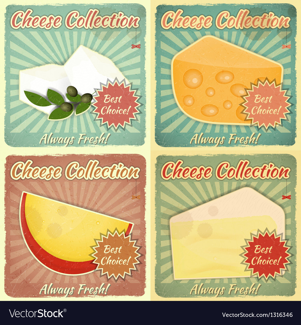 Vintage set of cheese labels vector | Price: 1 Credit (USD $1)