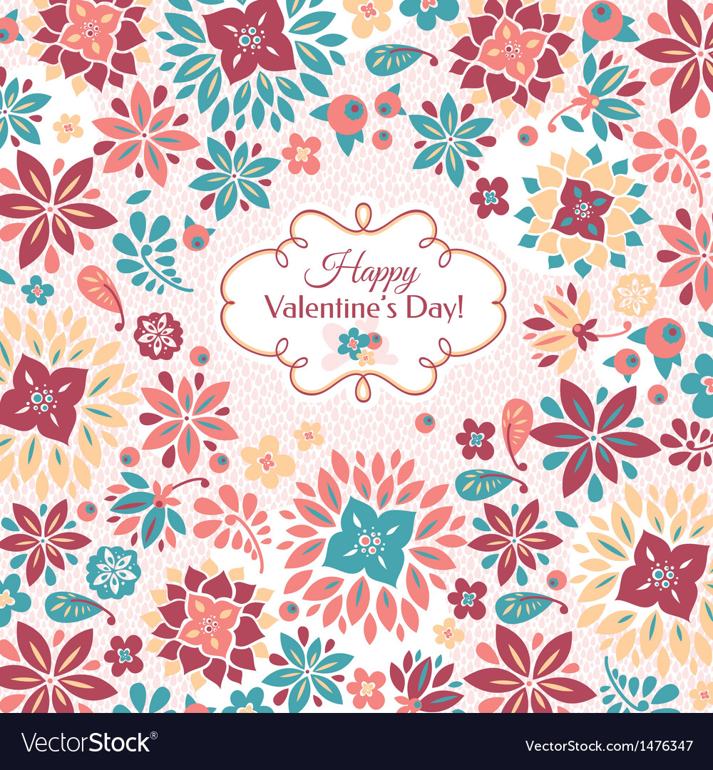 Abstract valentines day floral card vector | Price: 1 Credit (USD $1)