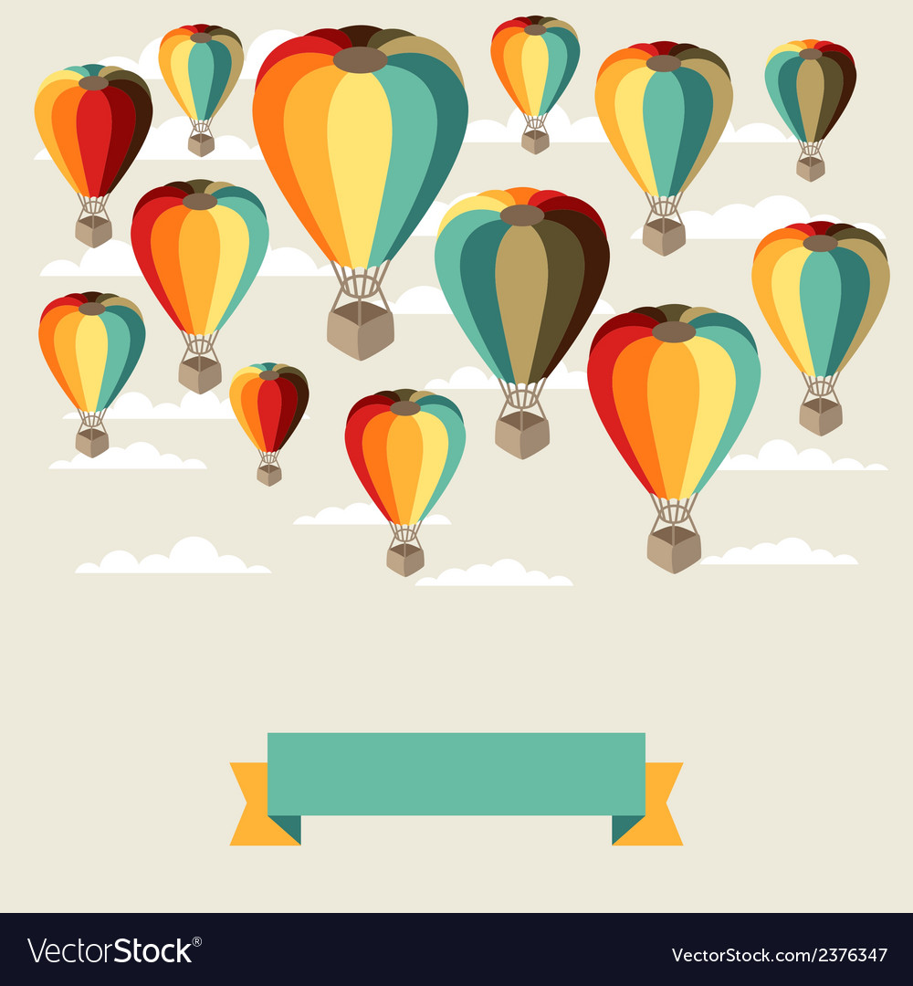 Background of hot air balloons and clouds vector | Price: 1 Credit (USD $1)