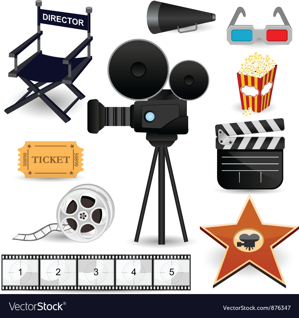 Cinema movie icons vector | Price: 5 Credit (USD $5)