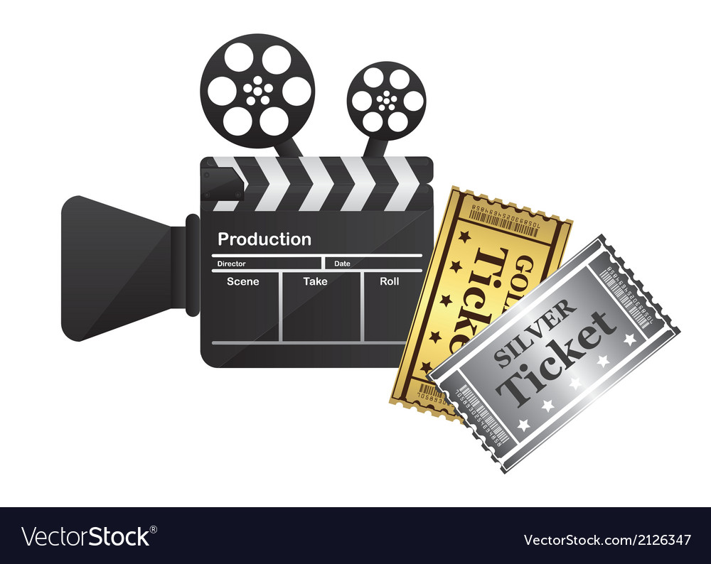Clapper board and tickets vector | Price: 1 Credit (USD $1)