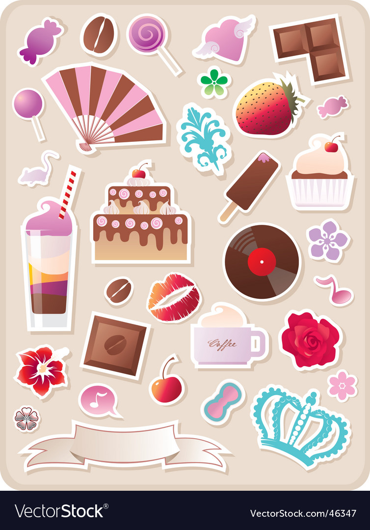 Collection of cute sweet stickers vector | Price: 1 Credit (USD $1)