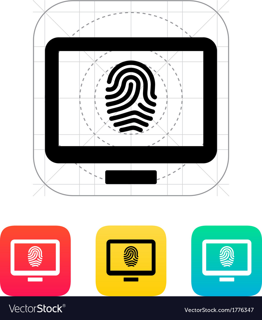 Desktop fingerprint icon vector | Price: 1 Credit (USD $1)