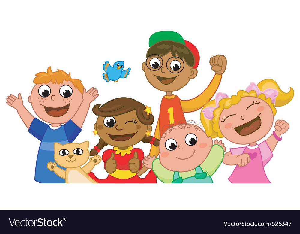 Five happy kids smiling vector | Price: 3 Credit (USD $3)