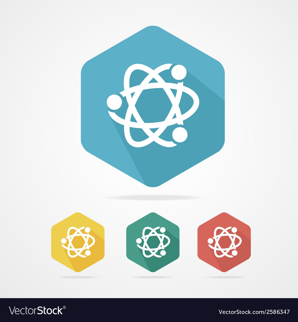 Flat atom icon atom part symbol vector | Price: 1 Credit (USD $1)