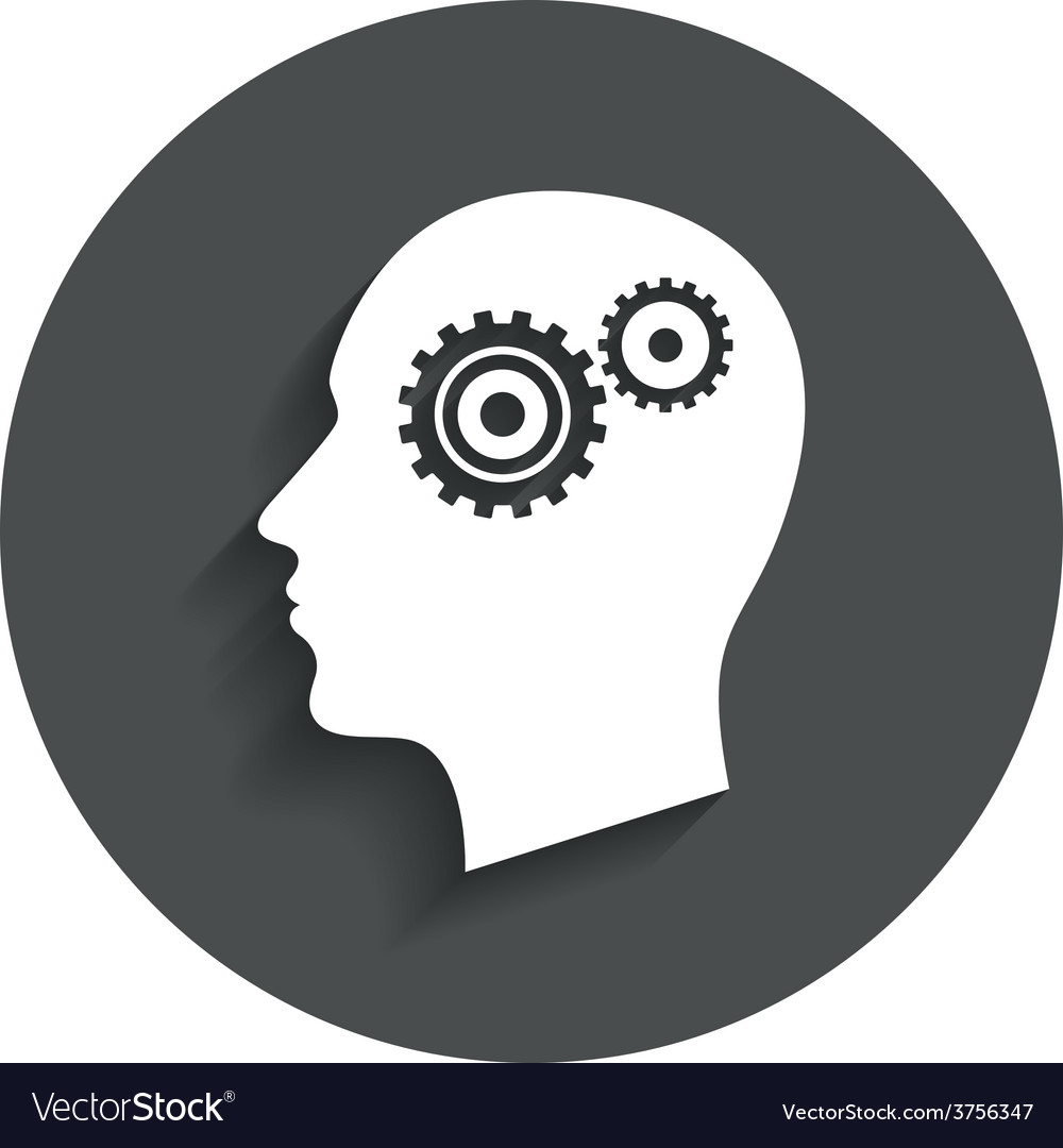 Head with gears sign icon male human head vector | Price: 1 Credit (USD $1)