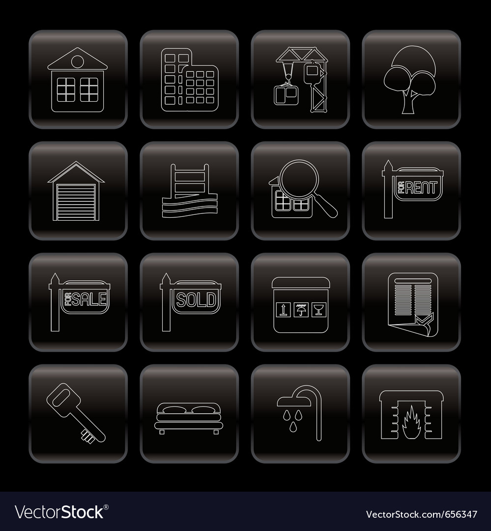 Line real estate icons vector | Price: 1 Credit (USD $1)