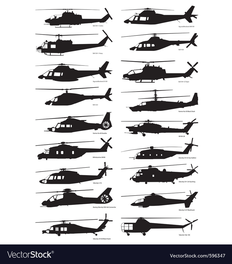 Military and civilian helicopter silhouettes vector | Price: 1 Credit (USD $1)