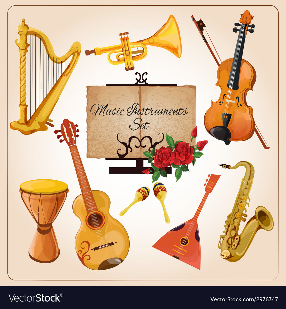 Music instruments color vector | Price: 1 Credit (USD $1)