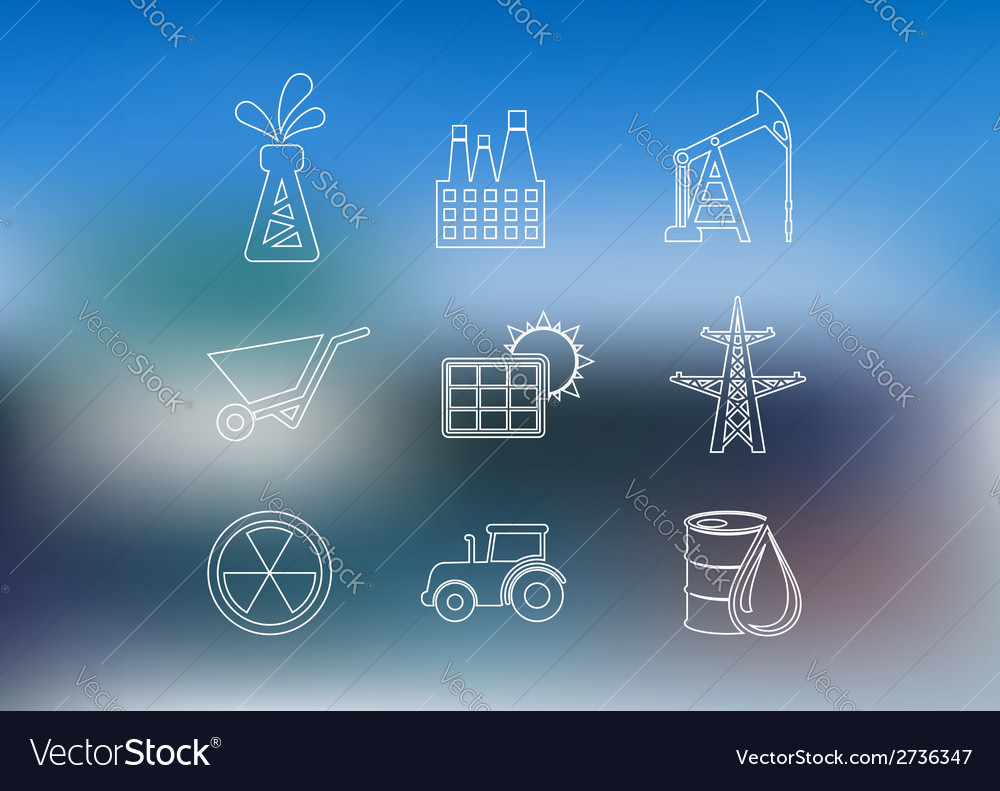 Outline industrial icons set vector | Price: 1 Credit (USD $1)