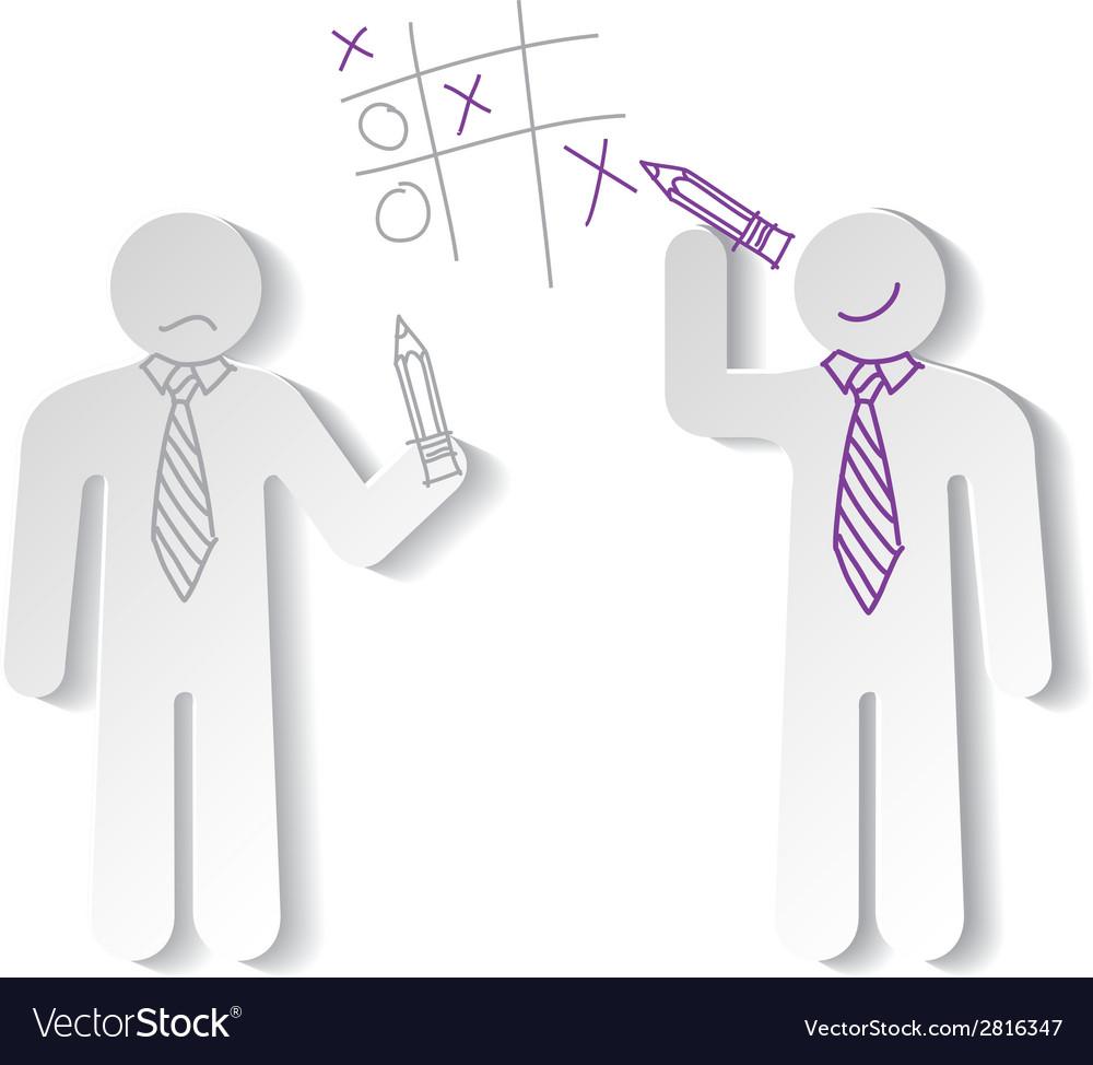 Paper men play tic tac vector | Price: 1 Credit (USD $1)