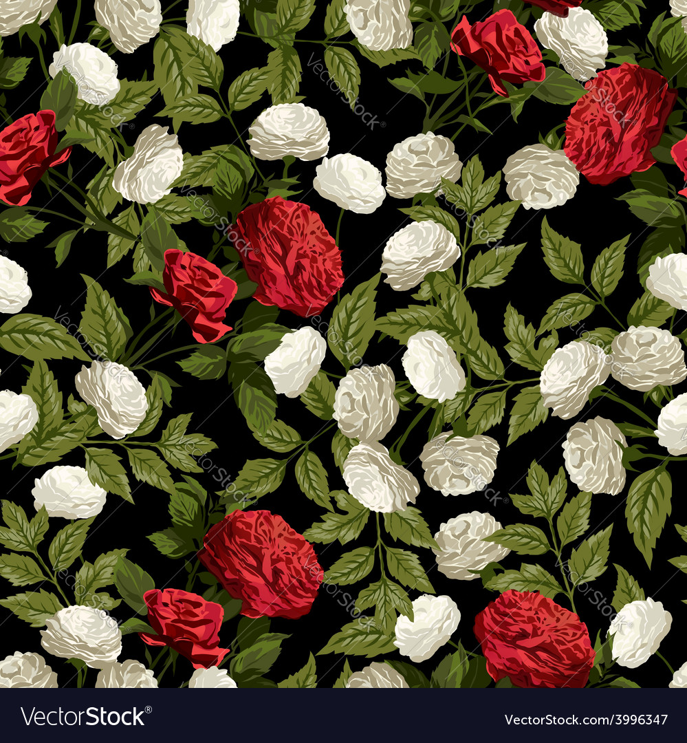Seamless floral pattern with red and white roses vector | Price: 1 Credit (USD $1)