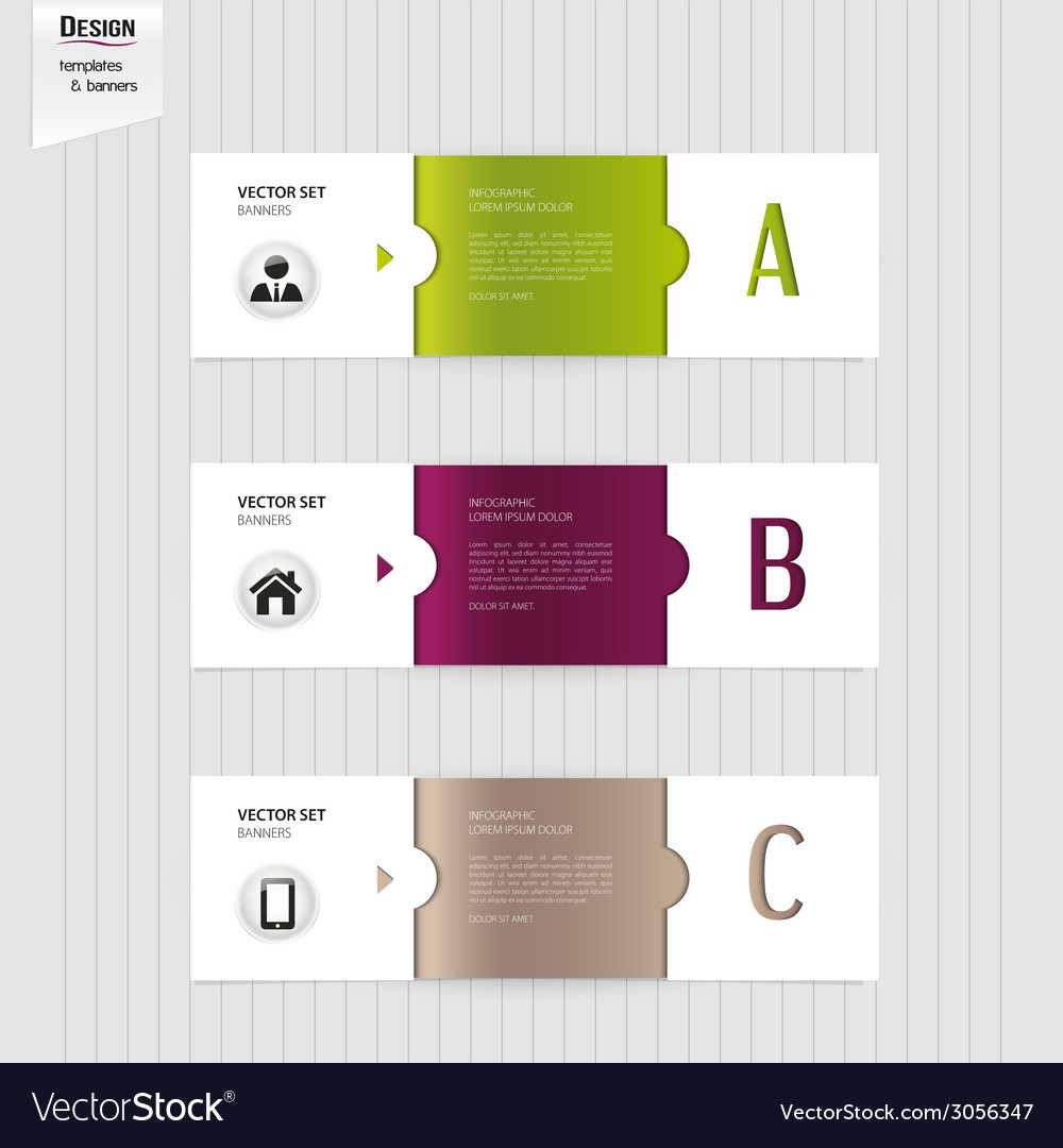 Set of colorful banners bookmarks labels website vector | Price: 1 Credit (USD $1)