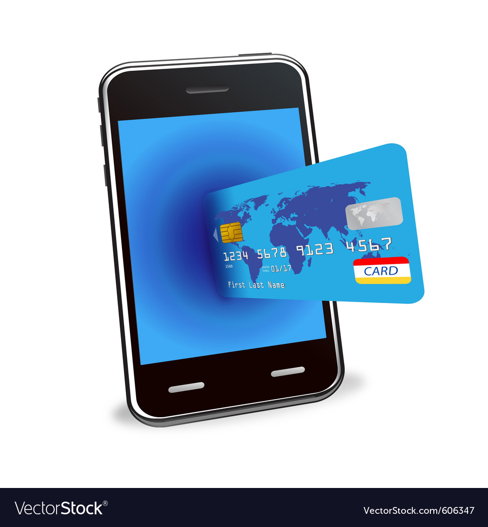 Smart phone and credit card vector | Price: 1 Credit (USD $1)