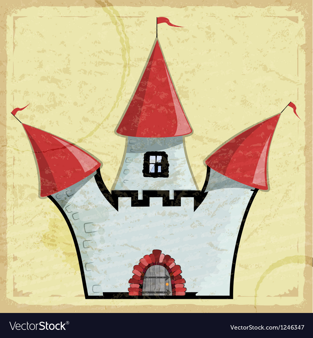 Vintage card with a picture of an old castle vector | Price: 1 Credit (USD $1)