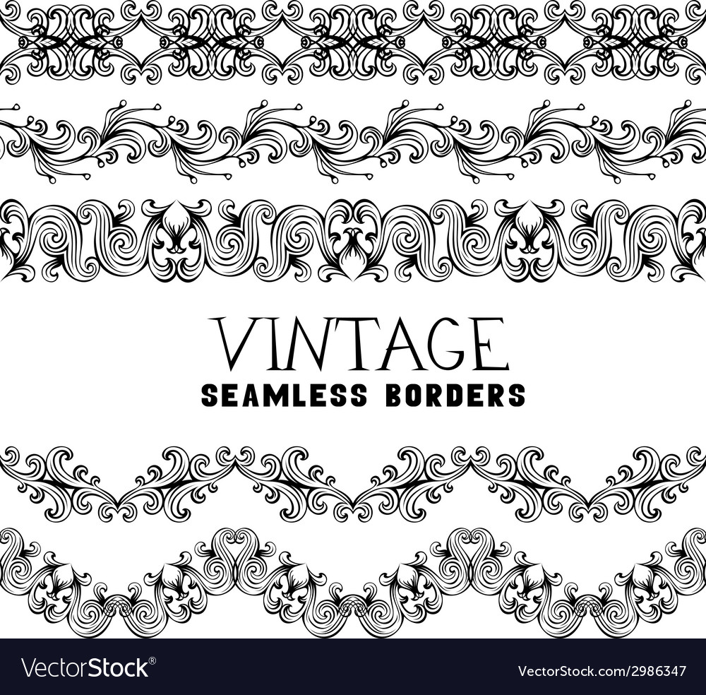 Vintage semless borders isolated on white vector | Price: 1 Credit (USD $1)