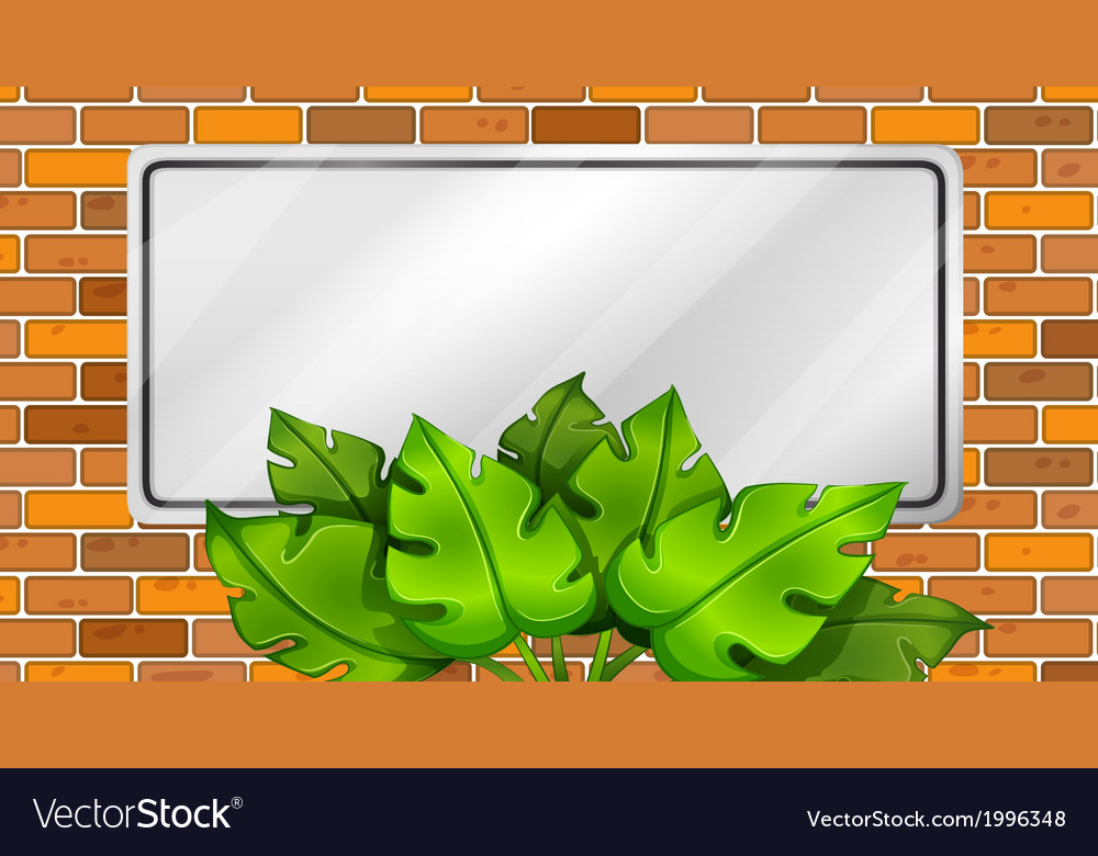 An empty signboard with leaves vector | Price: 1 Credit (USD $1)