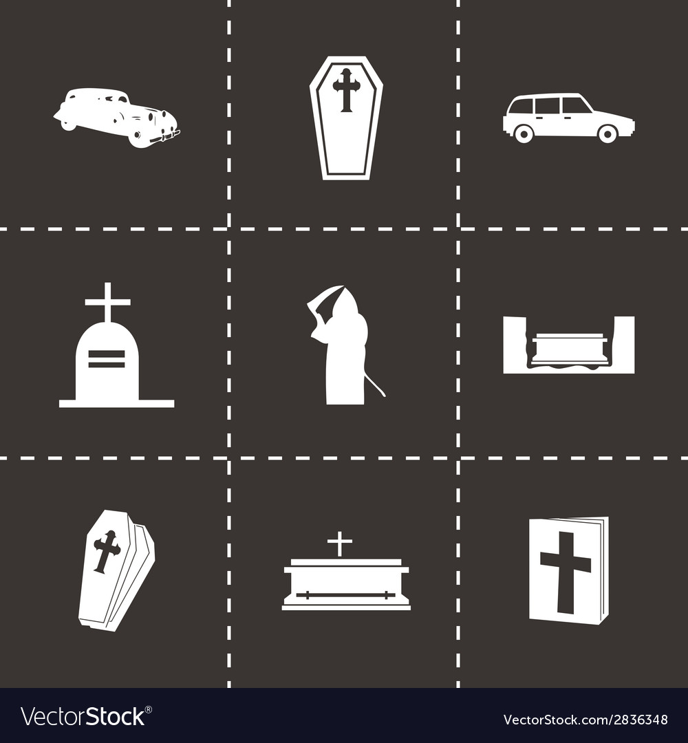 Black funeral icons set vector | Price: 1 Credit (USD $1)