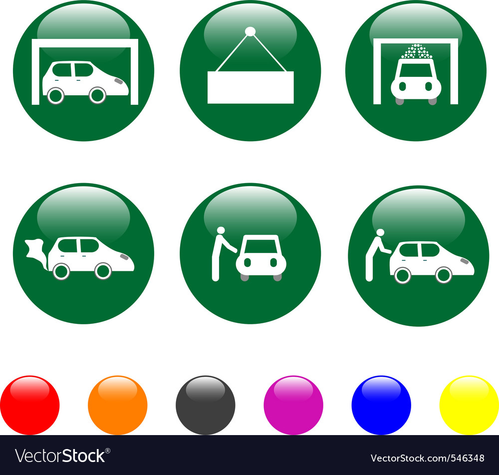 Car service green icon shiny button vector | Price: 1 Credit (USD $1)
