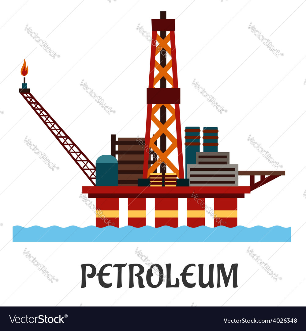 Flat oil offshore platform in the ocean vector | Price: 1 Credit (USD $1)