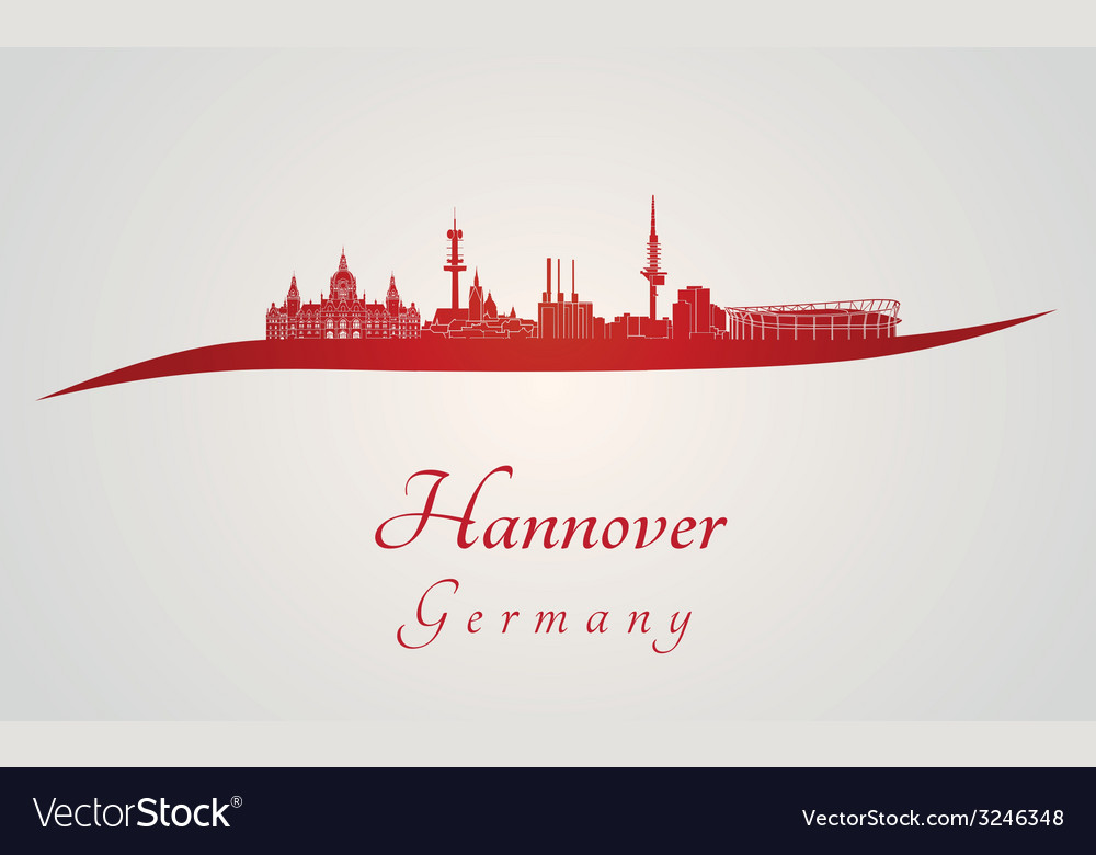 Hannover skyline in red vector | Price: 1 Credit (USD $1)