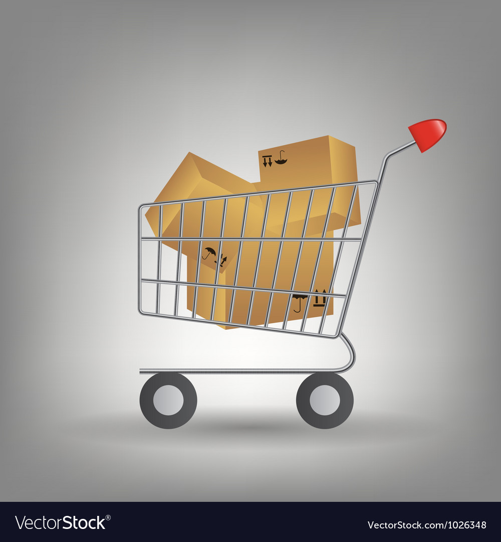 Shopping cart with boxes icon vector | Price: 1 Credit (USD $1)