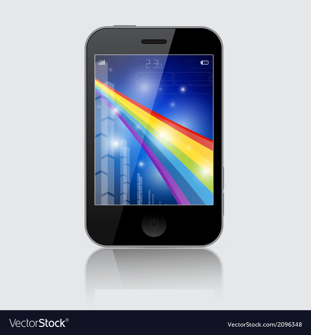 Smartphone with abstract rainbow theme on gr vector | Price: 1 Credit (USD $1)