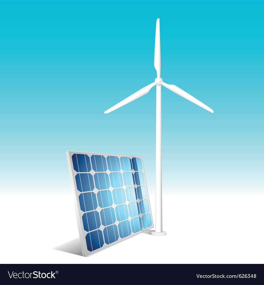 Solar panel and wind generator vector | Price: 1 Credit (USD $1)