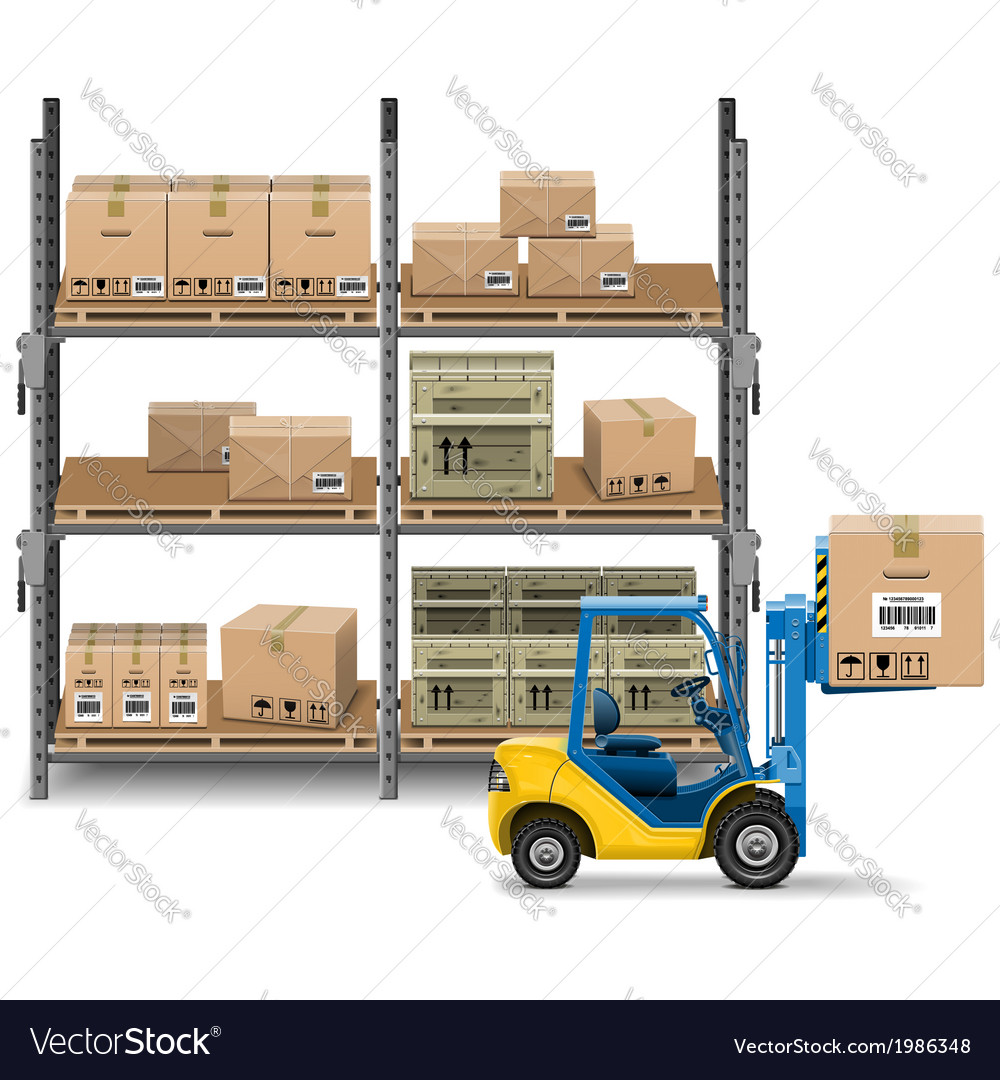Storage with forklift vector | Price: 3 Credit (USD $3)