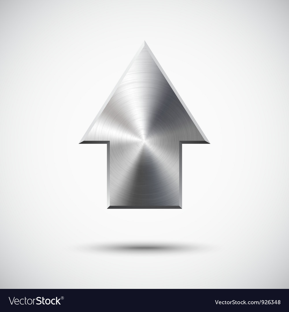 Up arrow sign with metal texture light background vector | Price: 1 Credit (USD $1)