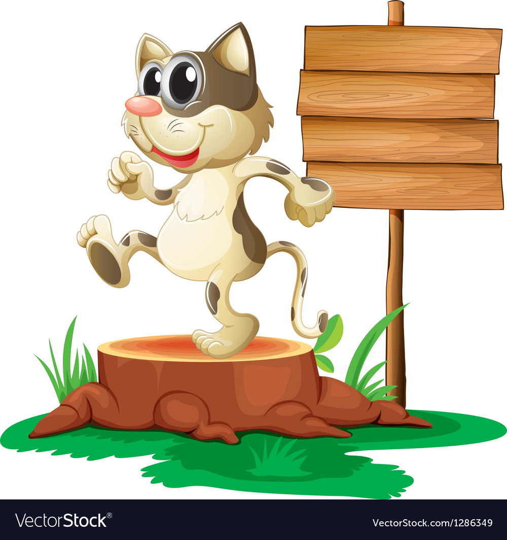 A cat above a trunk near an empty board vector | Price: 1 Credit (USD $1)