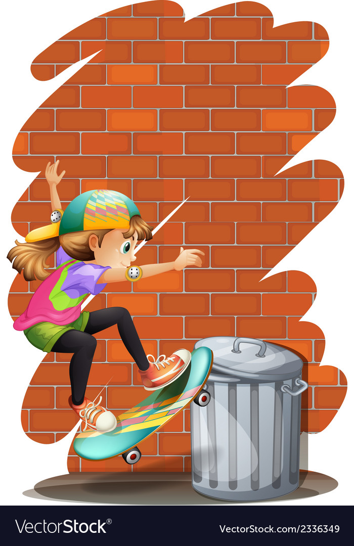 A girl skateboarding near the trashcan vector | Price: 3 Credit (USD $3)