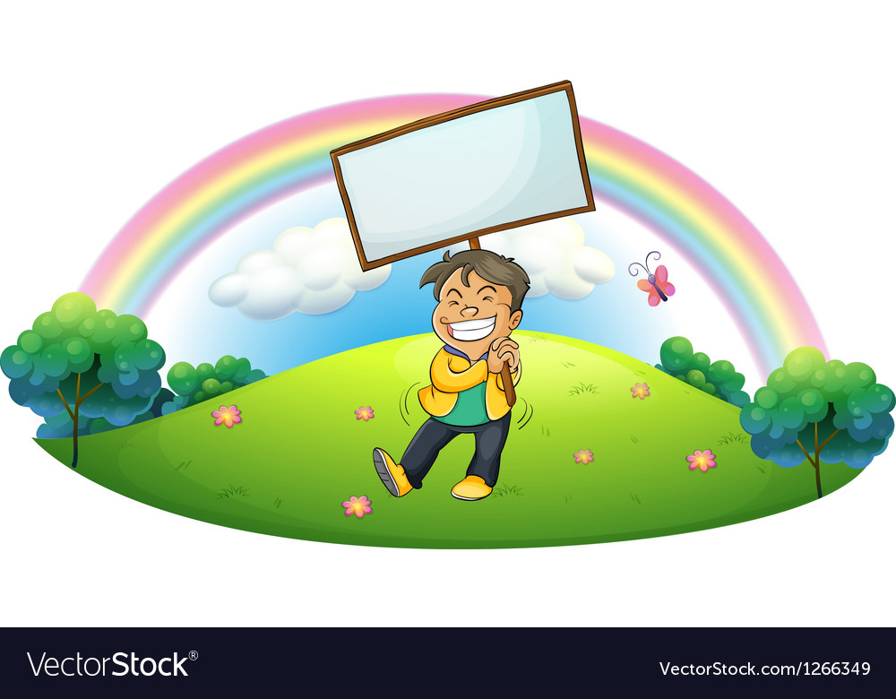 A happy boy holding an empty signboard vector | Price: 1 Credit (USD $1)