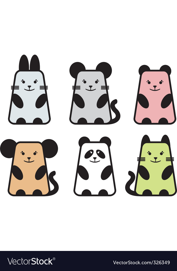 Cute animal icons vector | Price: 1 Credit (USD $1)